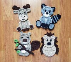 Woodland Animals Applique Pack- Crochet Pattern Only- Beaver- Moose- Raccoon- Hedgehog- Crochet Applique Pack Motifs D'appliques, Crochet Motifs, Crochet Stitches, Crochet Patterns, Crochet Appliques, Crochet Panda, Crochet Animals, Crochet Baby, Knit Crochet