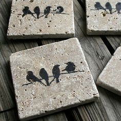 These travertine tiles naturally absorb moisture and make perfect coasters. We use waterproof ink to create the images on the coasters. Cork sheets are precisely cut and glued onto the back of the coasters for support. They are naturally rustic, natural, Tile Crafts, Concrete Crafts, Concrete Art, Concrete Projects, Concrete Design, Diy Projects To Try, Craft Projects, Diy And Crafts, Arts And Crafts
