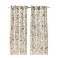 INGERLISE Curtains, 1 pair, white, beige white/beige 57x98