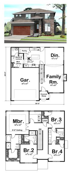 Contemporary House Plan 41109 | Total Living Area: 2158 sq. ft., 4 bedrooms, 2 bathrooms, 1 half bath and 1 3/4 bath. Plan features include a family-friendly mud room with a catch-all cabinet, bench and locker set and a large walk-in pantry in the kitchen. #houseplan #contemporaryhome