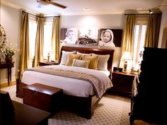 Love the photos above the bed