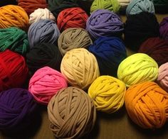 """Make yarn from old tee shirts!  I like the advise """"don't use your room mate's tee shirts without permission""""."""
