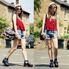 Burgundy Top, High Waisted Denim Shorts, Boots