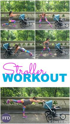 I love this---> Check out this awesome stroller workout! Whether you're working on postpartum fitness, or you're just looking for a way to fit in some strength training during your run, this exercise routine is perfect for multitasking - bond with baby while you work on your fitness. | running | workout | fitness |