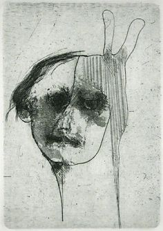 Robert E. Marx. Bunny Mask, 1998. Etching. Edition of 15. 4-3/4 x 3-1/4 inches. SOLD