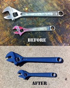 "Powder coating provides a tough finish that is stronger than paint and looks great. It's a ""green"" process since there are no solvents to spreay, and the overspray can be swept or vacuumed up. Metal Tools, Old Tools, Powder Coating Diy, Garage Atelier, Powder Coat Paint, Rust Prevention, Homemade Tools, Spray Can, Trash To Treasure"