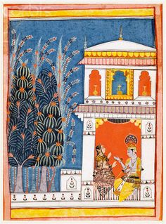 Malwa Miniature Painting of Krishna and a Lady in a Pavilion. This painting is an illustration to the musical mode Bhairava Raga. ca. 1660
