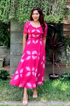 Mar 2020 - Cerise Pink Clamp Dye Fit and Flare Maxi Dress Simple Kurti Designs, Kurta Designs, Casual Frocks, Frocks And Gowns, Ikkat Dresses, Frock For Women, Frock Dress, Frock Design, Ethnic Dress
