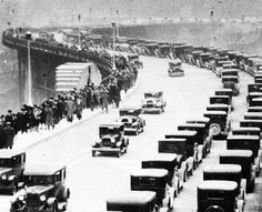 Approach to the Ambassador Bridge from Detroit 1920's