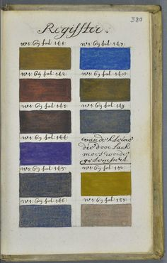 "dates from 1692 and is credited to one ""A. Boogert,"" and it has to count among one of the most exhaustive explorations of color ever produced by the human mind. The book's title is Klaer lightende Spiegel der Verfkonst…Tot Delft, gedaen en beschreeven dour A. Boogert or Traité des couleurs servant à la peinture à l'eau [Treatise of colors used in watercolor painting]."