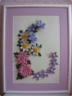 Картина панно рисунок Квиллинг Просто цветочки Бумажные полосы фото 1