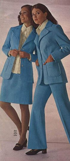 Women's fashion in the mid-to-late 1970s was dominated by suits. Description from retrowaste.com. I searched for this on bing.com/images