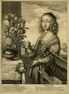"""Wenceslaus Hollar 1607-1677. Ver / Spring. Inscription Lettered with two columns with title and verses in four lines in Latin and English: """"VER / Iam decessit Hyems ... venusta decet"""" and """"SPRING / Ffurs fare you well ... must not hide"""". Signed below left: """"W. Hollar inuentor et fecit Londini Ao. 1641"""". © The Trustees of the British Museum"""