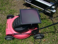 Charge It Up! Solar-power lawn mower DIY:  http://www.treehugger.com/slideshows/solar-technology/how-build-solar-powered-lawn-mower/page/6/#