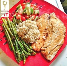 Seasoned tilapia with lemon salt, black pepper, and garlic... Asparagus avocado with cherry tomatoes and 1/2cup of brown rice. #mankofit