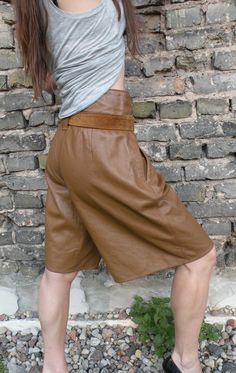 Vintage Fort Alamo Mustard Leather Shorts by JustGiza on Etsy, $32.00