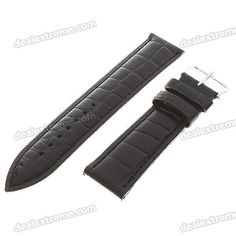 High quality sweat-resistant wristwatch strap - Material: leather - Length: 20.8cm - Color: black http://j.mp/1toAySW