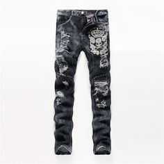 53.59$  Buy here - http://alip5k.shopchina.info/go.php?t=32648492325 - High Quality Mens Ripped Biker Jeans Cotton Black Slim Fit Motorcycle Jeans Men Vintage Distressed Denim Jeans Pants jeans homme  #magazine