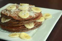 Chocolate coconut banana pancakes, high in protein, great post workout meal