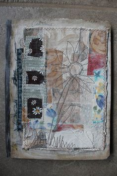 stitched journal cover by Nellie Wortman http://www.earlymorningthoughts.typepad.com #handmade_books #sewing #fiber_art