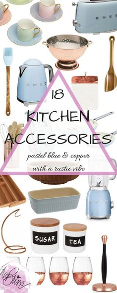Blue, copper and rustic kitchen accessories for you to cook your way to glam. From pastel blue Smeg appliances to two-tone chopping boards, you are sure to be in interior heaven. Copper Kitchen, Rustic Kitchen, Kitchen Ware, Vintage Kitchen, Retro Vintage, Kitchen Gadgets, Kitchen Appliances, Kitchen Stuff, Kitchen Ideas