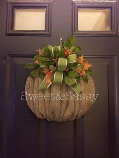 Harvest pumpkin wreath  Burlap
