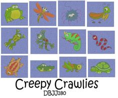 Lizards Frogs Bugs Machine Embroidery Designs   Designs by JuJu