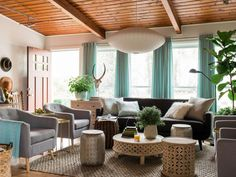 If color and pattern are too much of a commitment for you, take a look at this eclectic living room that's punctuated by texture.