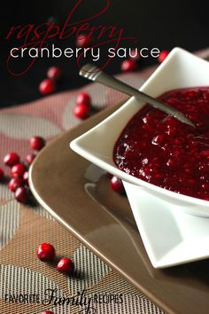 This raspberry cranberry sauce is a tasty twist on your regular cranberry sauce! I decided to try making it this way because I am crazy about cran-raspberry juice! It turned out so yummy, I am definitely adding this to my Thanksgiving menu from now on. Cranberry Salsa, Cranberry Chicken, Cranberry Recipes, Fall Recipes, Holiday Recipes, Turkey Recipes, Pork Recipes, Yummy Recipes, Holiday Ideas