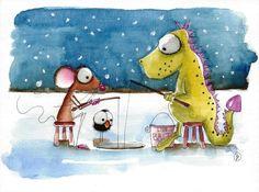 Original watercolor painting art illustration mouse dragon winter ice fishing #Folkartillustration