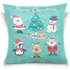 La Random Pillow Case Covers Santa Claus Snowman Reindeer Penguin Christmas Tree Decorative Cushion Cover Pillow Case for Sofa Bed 18 x 18 Inches * Click image for more details. (This is an affiliate link) #PillowCovers