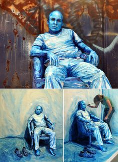 These artworks are by Alexa Meade, a 23-year-old artist based in Washington DC, whose work is a combination of installation, painting, performance, photography and video art. Instead of painting on flat canvas, Alexa paints her image directly on people (!!) and other three-dimensional subjects.