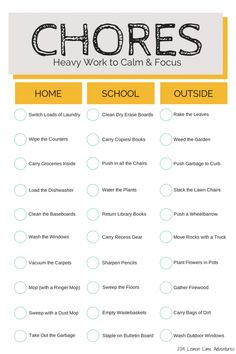 HEAVY WORK CHORES that Help Calm and Focus | Free Chore Chart Printable for Home, School and Outside
