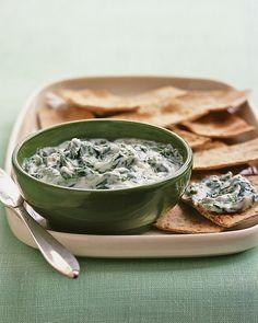 Swiss Chard Tzatziki - Martha Stewart Recipes: green swiss chard + garlic + salt + olive oil + greek yogurt + lemon juice + cayenne