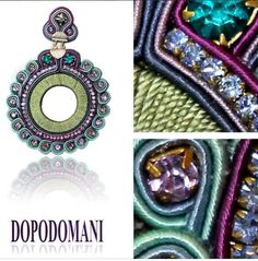 Dopodomani style soutache Soutache Pendant, Soutache Earrings, Diy Jewelry, Jewelry Design, Shibori, Beaded Embroidery, Bracelet Watch, Jewerly, Weaving