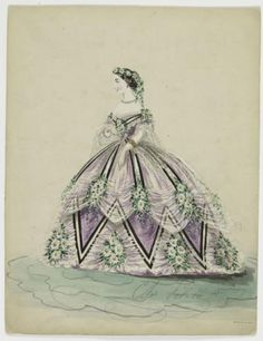 c.1860 Charles Pilatte Fashion Illustration; Woman in lilac dress, black and white