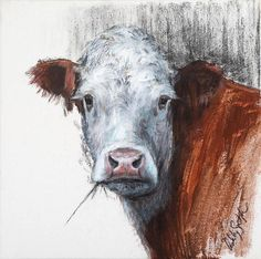 """Items similar to """"Hereford Beauty"""" Gicleé print on Etsy Simple Oil Painting, Cow Painting, Hereford Cattle, Cow Canvas, Farm Art, Cow Art, 5d Diamond Painting, Animal Paintings, Painting Inspiration"""