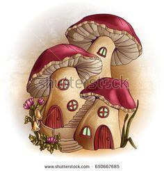 Illustration of Mushroom houses fairy tale illustration vector art, clipart and stock vectors. Mushroom Drawing, Mushroom Art, House Illustration, Botanical Illustration, Illustrations, Mushroom House, House Drawing, Fairy Art, Chalk Art