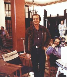 Jack Nicholson and Stanley Kubrick on the set of 'The Shining' (Film; 1980)