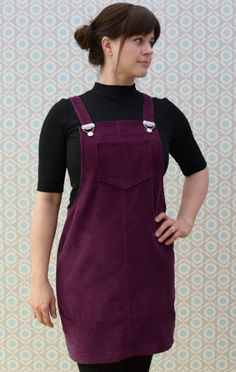 YOUR CLEO --> Super-gorgeous aubergine cord Cleo with on-trend black rollneck tee Dress Sewing Patterns, Vintage Sewing Patterns, Sewing Ideas, Pinafore Dress Pattern, Tilly And The Buttons, Dungaree Dress, Handmade Clothes, 70s Fashion, Dressmaking