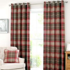 Red Highland Check Lined Eyelet Curtain Collection | Dunelm