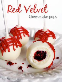Red Velvet Cheesecake Pops--This cake pop is a bite size version of the Ultimate Red Velvet Cheesecake from The Cheesecake Factory. A ball of cheesecake covered in red velvet cake. Does is get any better than that?