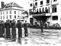 Outside the Pomme D'or Hotel, May 1945