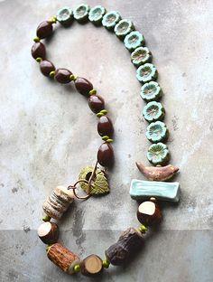 Lorelei Eurto jewelry design with kylie parry bird bead. Love this artisan necklace.