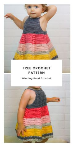 Free Crochet Pattern Baby Dress - - Crochet Toddler Dress - This dress has so many beautiful details on a simple base. Free crochet pattern by Winding Road Crochet. Crochet Toddler Dress, Toddler Dress Patterns, Baby Girl Crochet, Crochet Baby Clothes, Crochet For Kids, Baby Patterns, Crochet Patterns, Crochet Baby Dresses, Puff Stitch Crochet