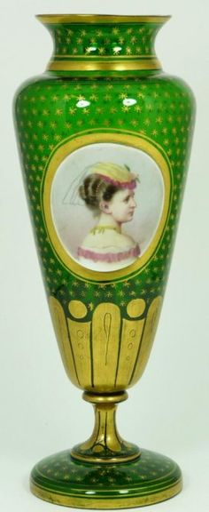 Image Detail for - Victorian Bristol glass vase, frosted ruby flash