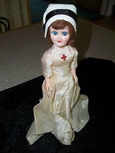 Vintage Blue Bonnet Red Cross Nurse Doll Blinky Eyes | eBay