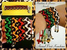 ▶ Kumimari 5: Animal Prints and Slipnots/Pulsera de kumihimo Con Disenios Animales y Nudo Corredizo - YouTube