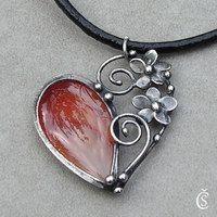 Metal Clay Jewelry, Enamel Jewelry, Stone Jewelry, Pendant Jewelry, Silver Jewelry, Fall Jewelry, Heart Jewelry, Silver Pendants, Artisan Jewelry