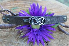 leather crystal heart wristband by TBTOBEDESIGNED1 on Etsy